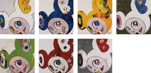 Takashi Murakami-And Then X 6 (White: The Superflat Method, Blue And Yellow Ears); And Then X 6 (Blue: The Superflat Method); And Then, And Then And Then And Then And Then. Yellow Universe; Dob In Pure White Robe (Pink & Blue); And Then, And Then And Then And Then And Then / Kappa; And Then X 6 (Red: The Superflat Method); And Dob In Pure White Robe (Navy & Vermilion)-2013