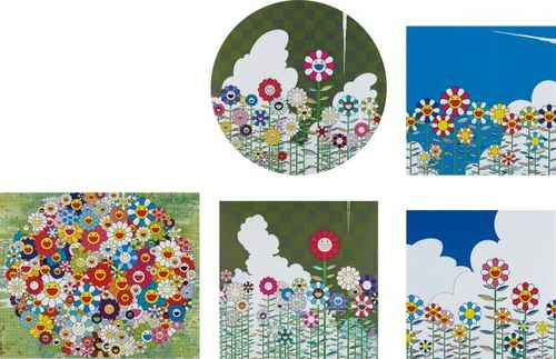 Takashi Murakami-Floating Campsite; Flower; Open Your Hands Wide; Warm And Sunny; And Flower 2-2011