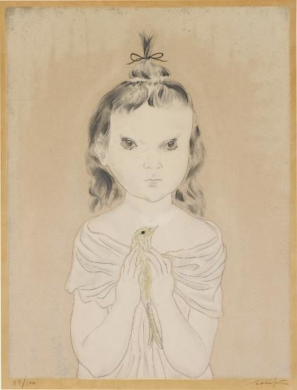 Tsuguharu Foujita-Petite ŽFille A L'Oiseau (Little Girl With Bird)-1929