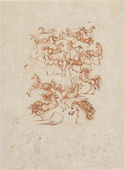 Salvador Dali-Les Petits Chevaux, From Poemes De Mao Tse-Tung (The Little Horses, From Poems By Mao Zedong)-1967
