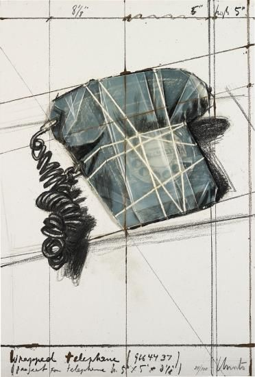 Christo and Jeanne-Claude-Wrapped Telephone, Project, From 12 Years Of Galeria Joan Prats, 1976-1988-1988