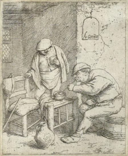 Adriaen van Ostade-The Smoker and the Drinker (B., Holl., G. 24a)-1682