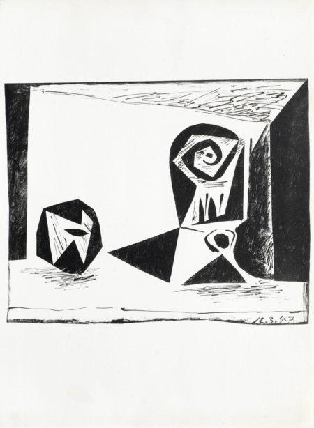 Pablo Picasso-A collection of Lithographs unframed (Composition au verre a pied, 45 Linoleums Graves, L'Homme a la Fraise, 'Nature Morte au Verre et a la Pomme)-1947