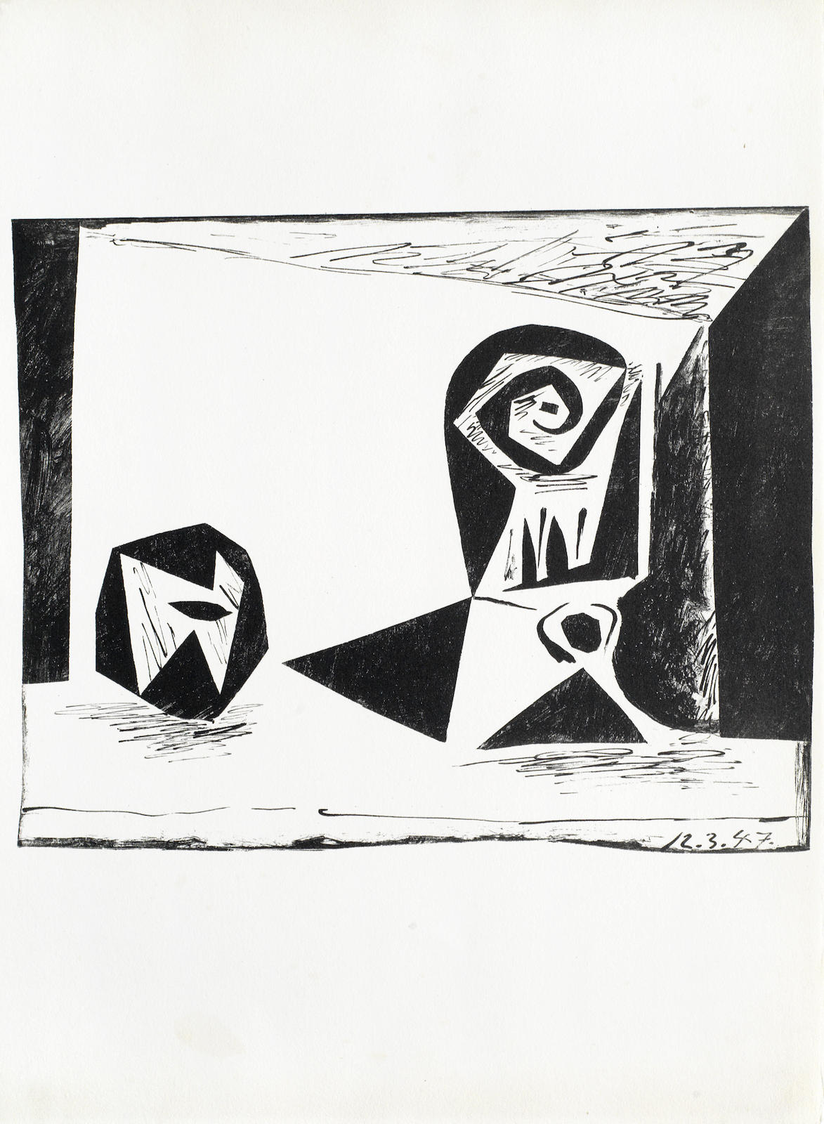 Pablo Picasso-A collection of Lithographs unframed (Composition au verre a pied, 45 Linoleums Graves, L'Homme a la Fraise, 'Nature Morte au Verre et a la Pomme)-1947