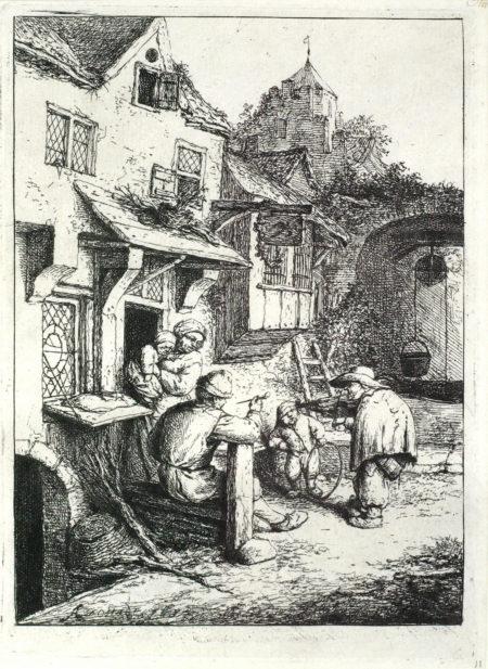 Adriaen van Ostade-The Hunchbacked Fiddler (B., Holl., G. 44)-1654