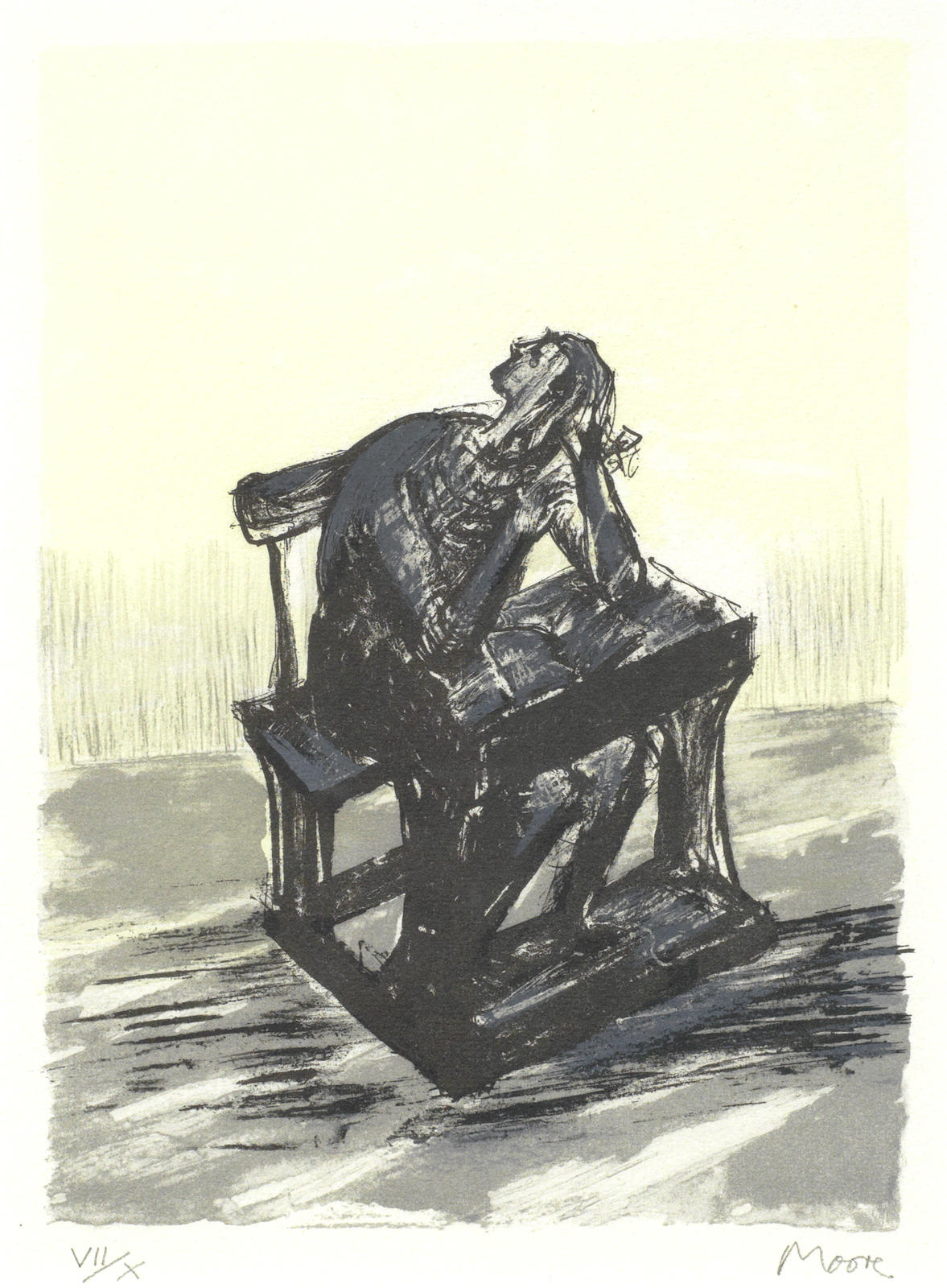 Henry Moore-Girl Seated at Desk I-1974