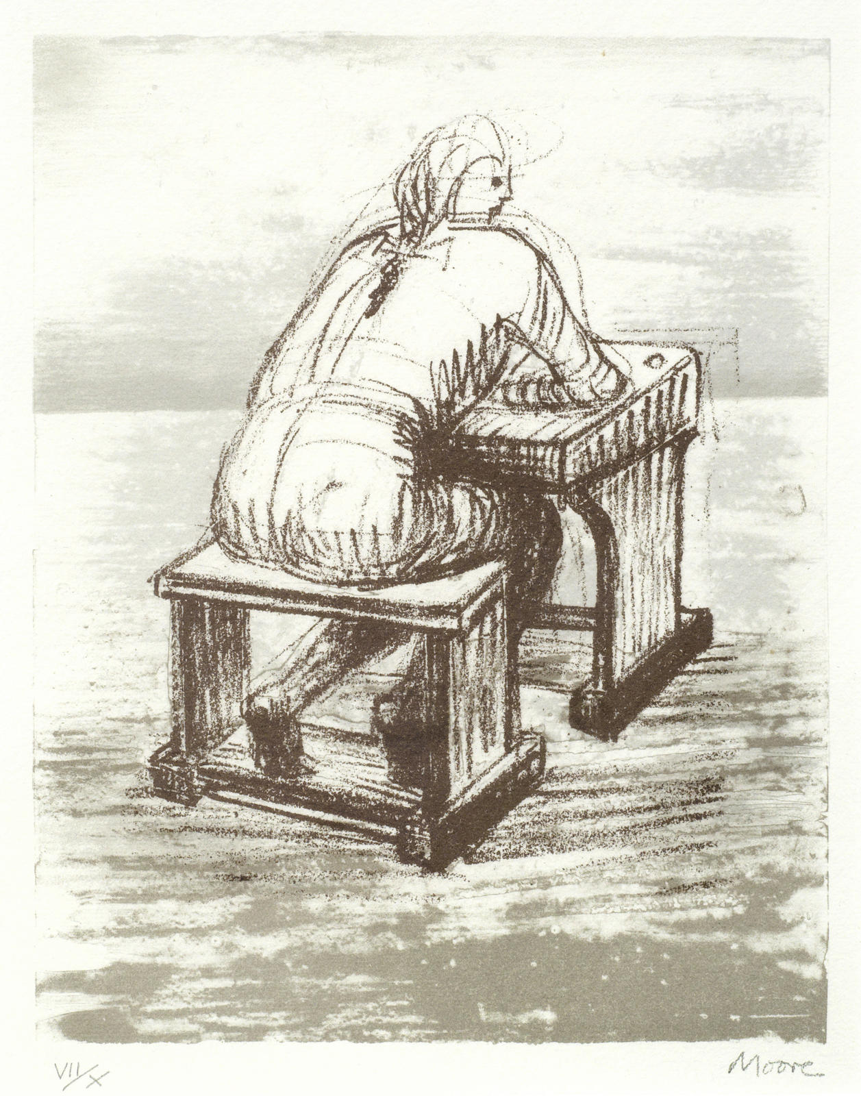 Henry Moore-Girl Seated at Desk III-1974
