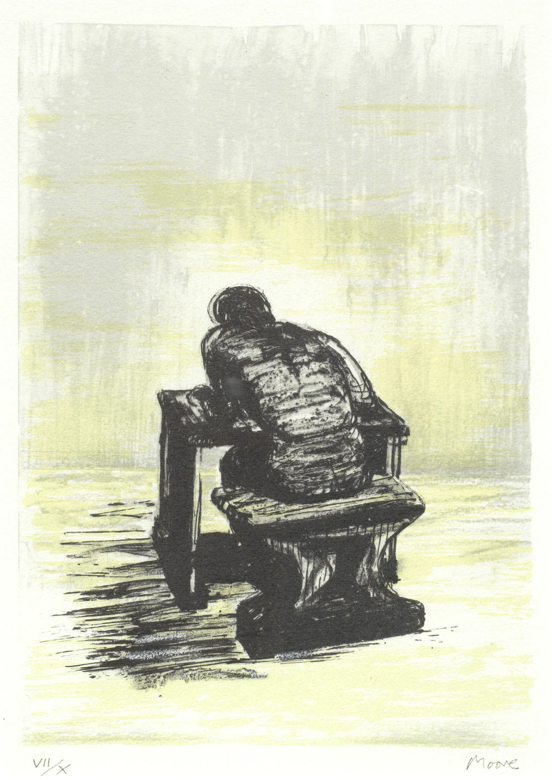Henry Moore-Girl Seated at Desk II-1974