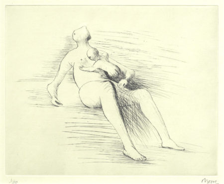 Henry Moore-Reclining Mother and Child II-1979