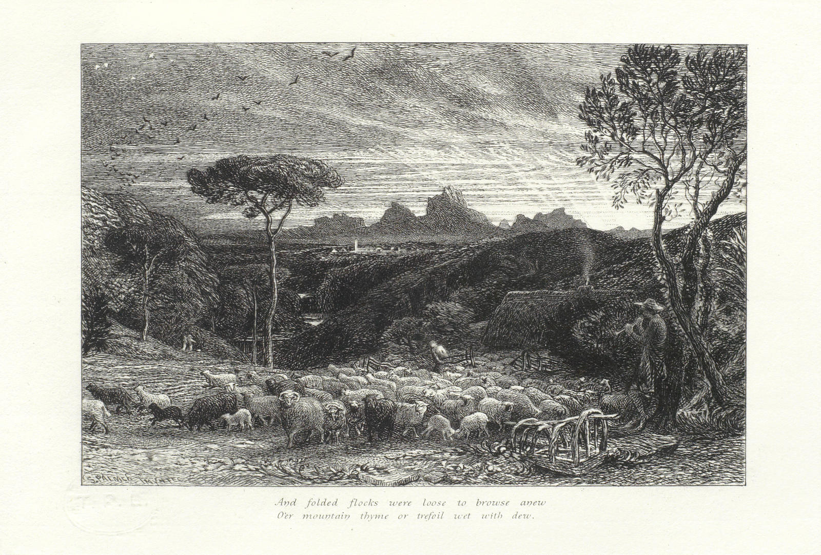 Samuel Palmer-Collection of Six Etchings ('Homeward Star', 'Cypress Grove', 'Sepulchre', 'Moeris & Galatea')-1861
