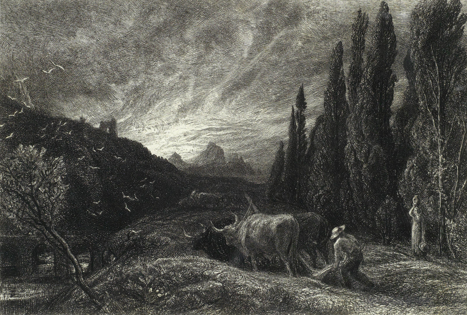 Samuel Palmer-Collection of Four Etchings (The Herdsman's Cottage, The Early Ploughman)-1861