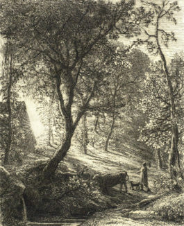 Samuel Palmer-Collection of Three Etchings (The Herdsman's Cottage, The Sleeping Shepherd, The Morning of Life)-1850
