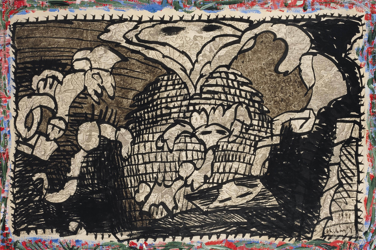 Pierre Alechinsky-La mine de bois-brule-1990