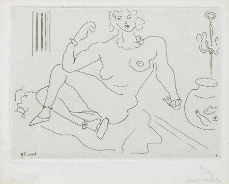 Henri Matisse-Nu assis sur le sol, un coude pose sur la jambe-1929