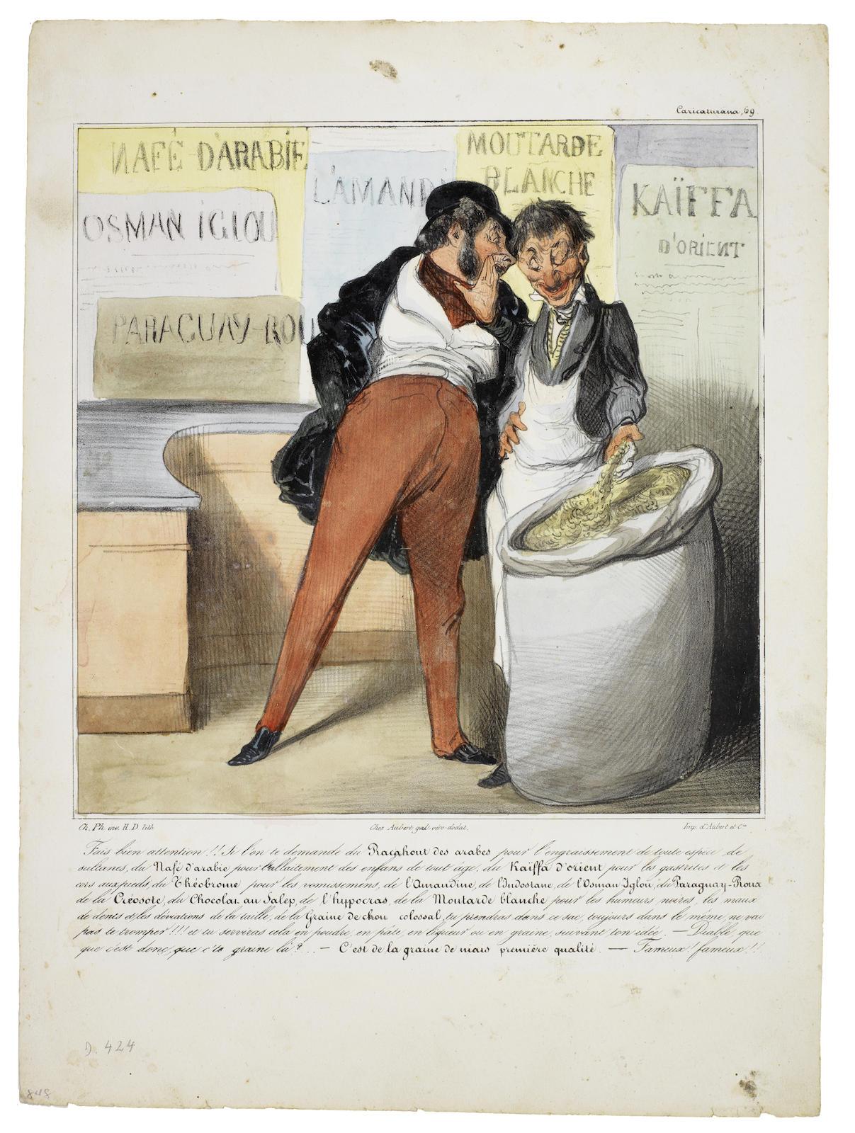 Honore Daumier-Caricaturana (Les Robert Macaire); Croquis d'Expressions (Delteil 366,368,382,383,397,424,441,450,474,495,498,503,510,515,516,519)-