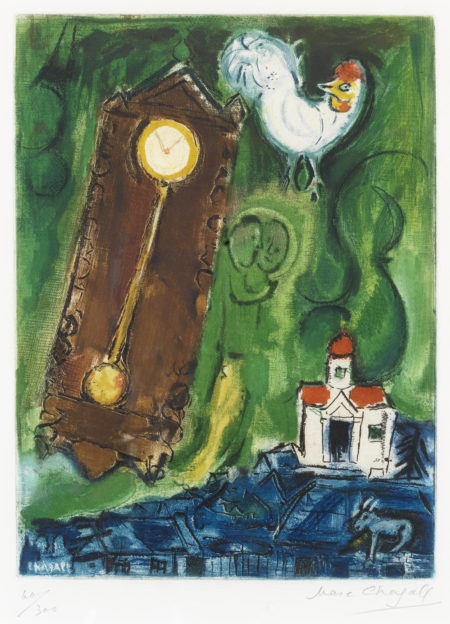Marc Chagall-After Marc Chagall - The Rooster and the Clock-1950