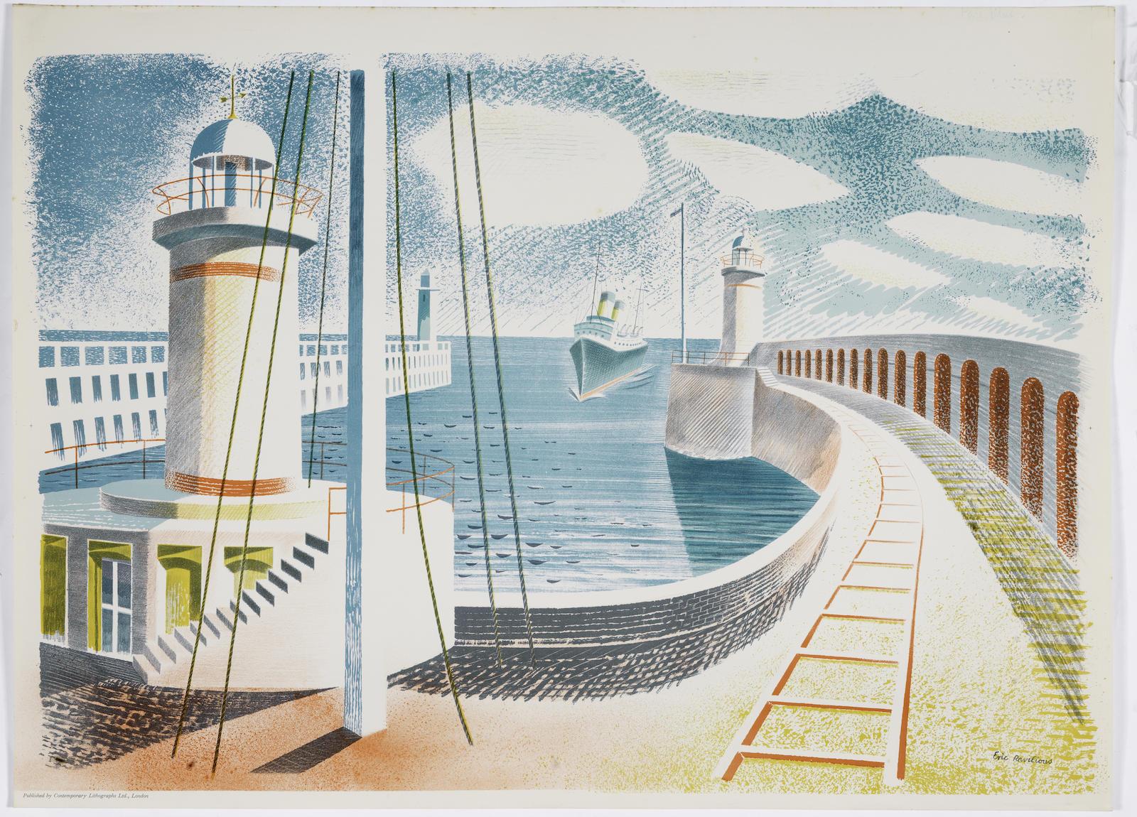 Eric William Ravilious-Newhaven Harbour-1937