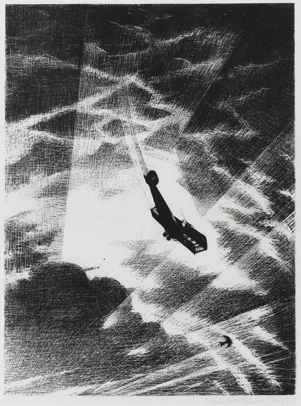 Christopher R. W. Nevinson-Swooping down on a Taube (Black 21)-1917