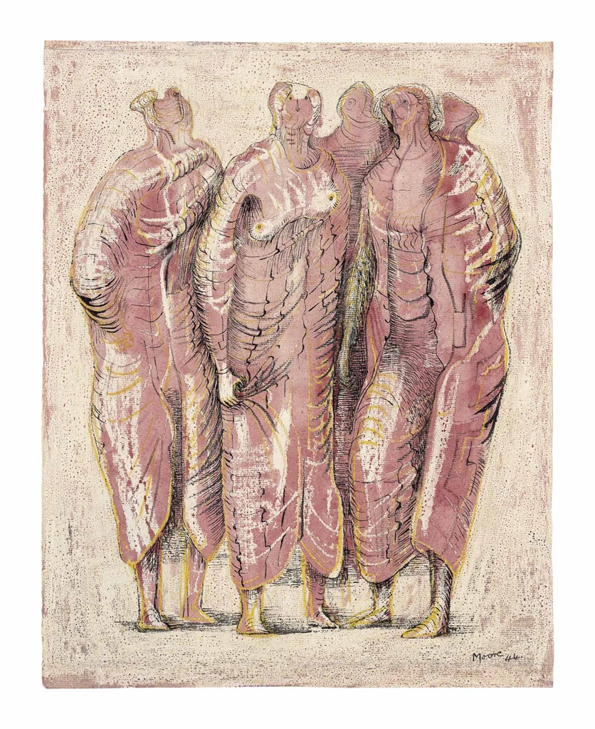 Henry Moore-Draped Standing Figures in Red-1944