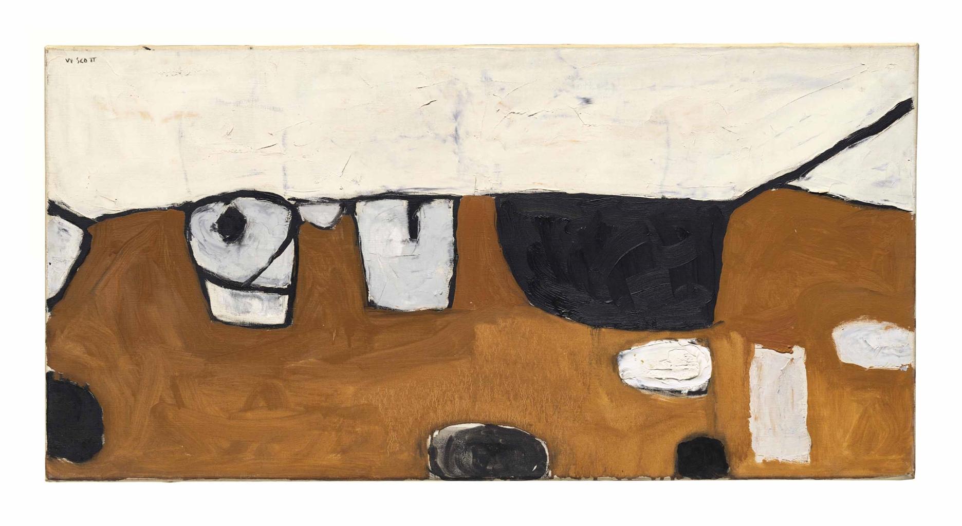 William Scott-Still Life on Black Table I (Landscape Still Life)-1956