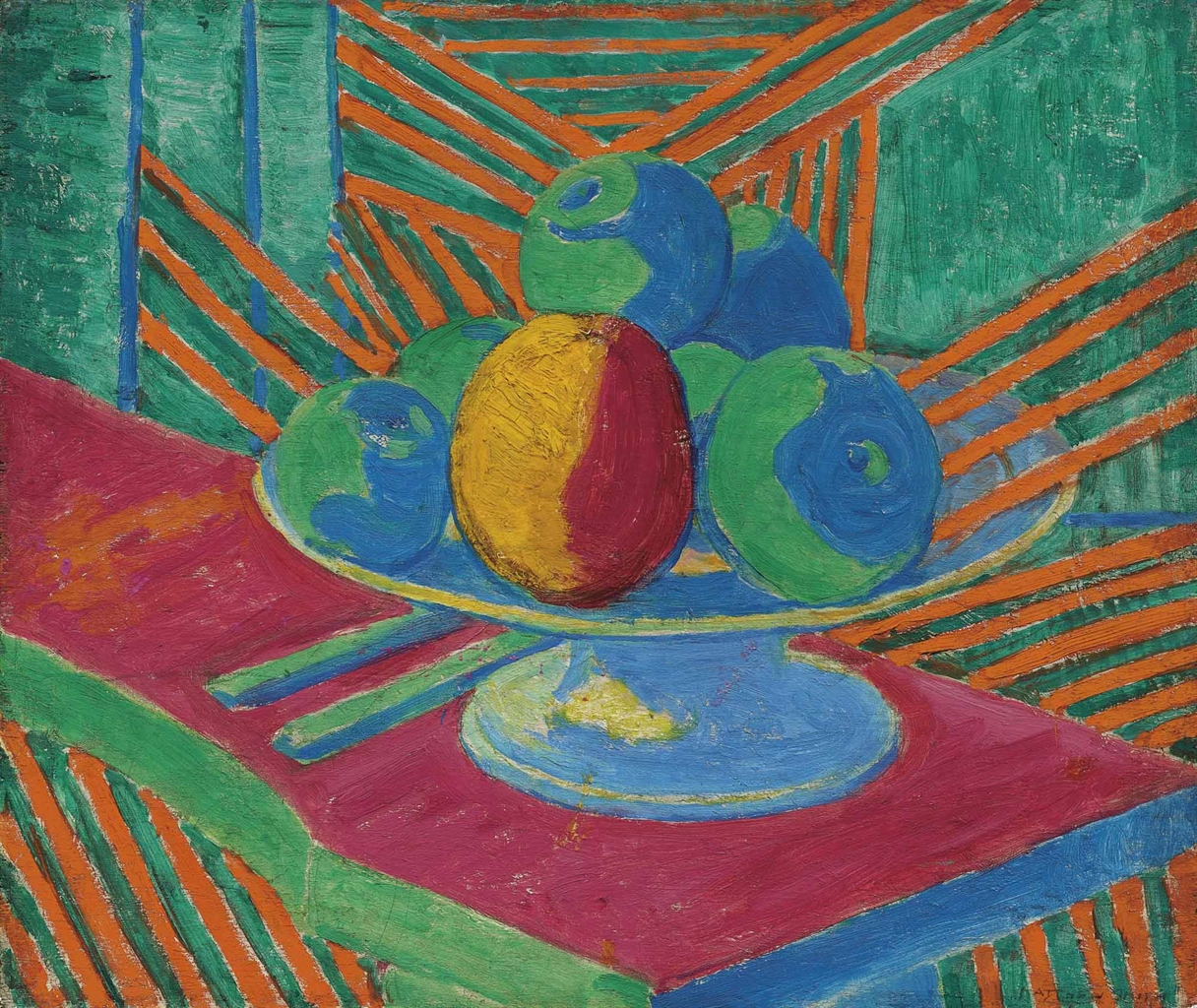 Matthew Smith-Fruit in a Bowl, Striped Background (II)-1913