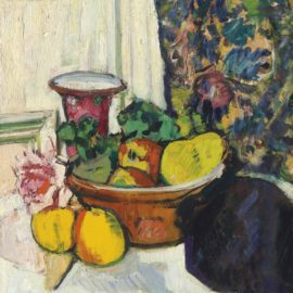 George Leslie Hunter-Still Life with Fruit, a Rose and a Pink Vase-1925