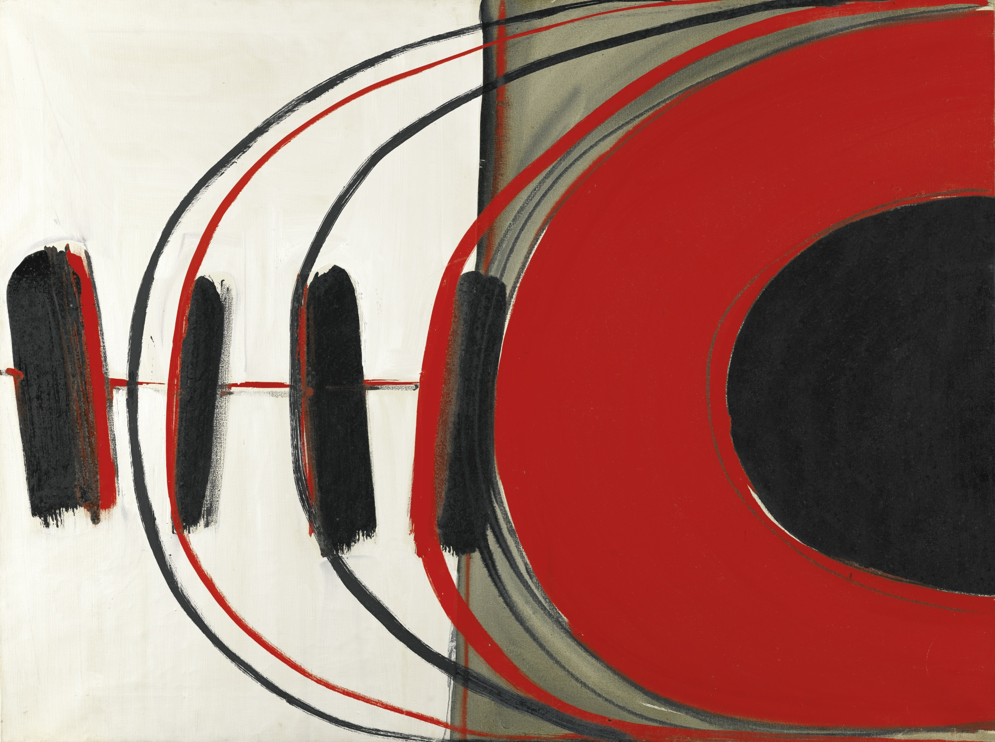 Terry Frost-Red, Black Verticals-1962