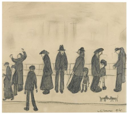 Laurence Stephen Lowry-ThirteenFigures And Two Dogs-1965