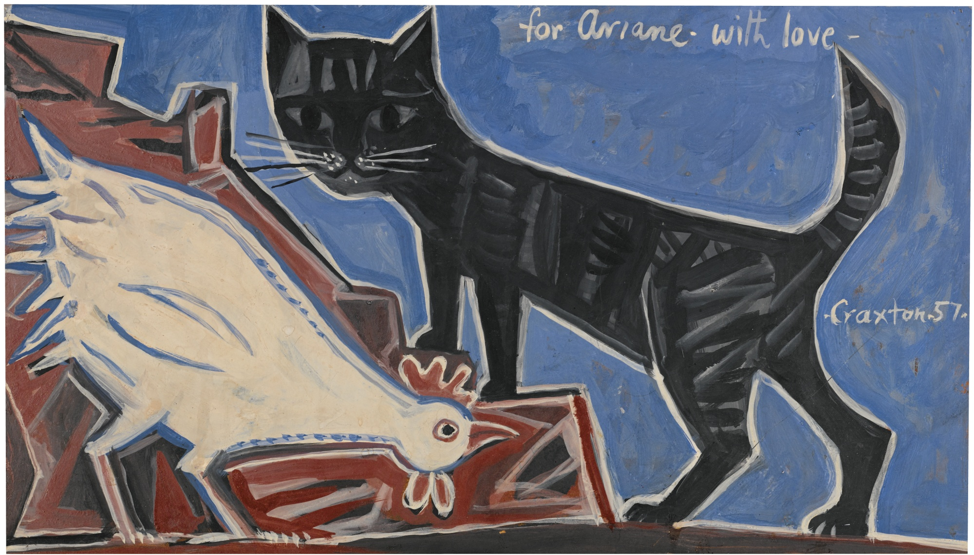John Craxton-Cockerel And Cat-1957