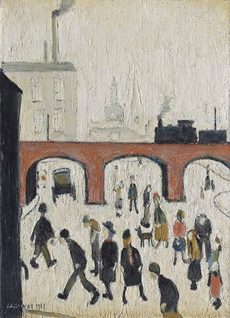 Laurence Stephen Lowry-A Street Scene-1961