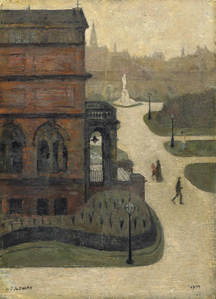 Laurence Stephen Lowry-Entrance to Peel Park Public Library, Salford-1927