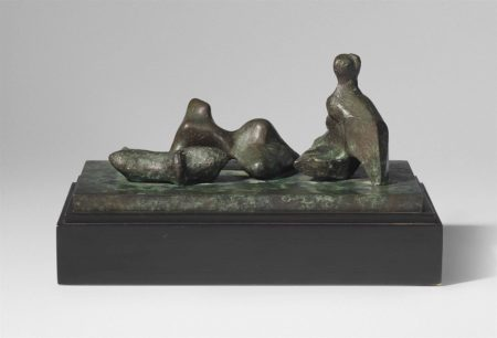 Henry Moore-Three Piece Reclining Figure: Maquette No. 5-1977