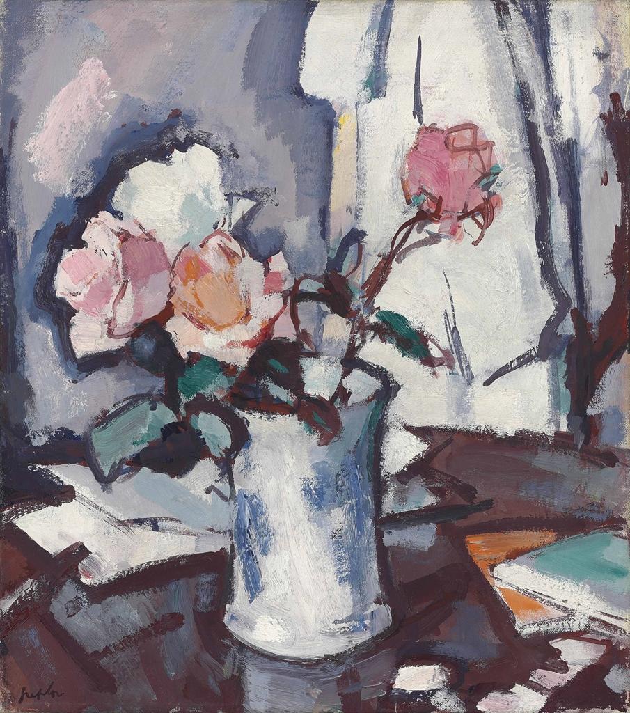 Samuel John Peploe-Roses in a blue and white jar-1927