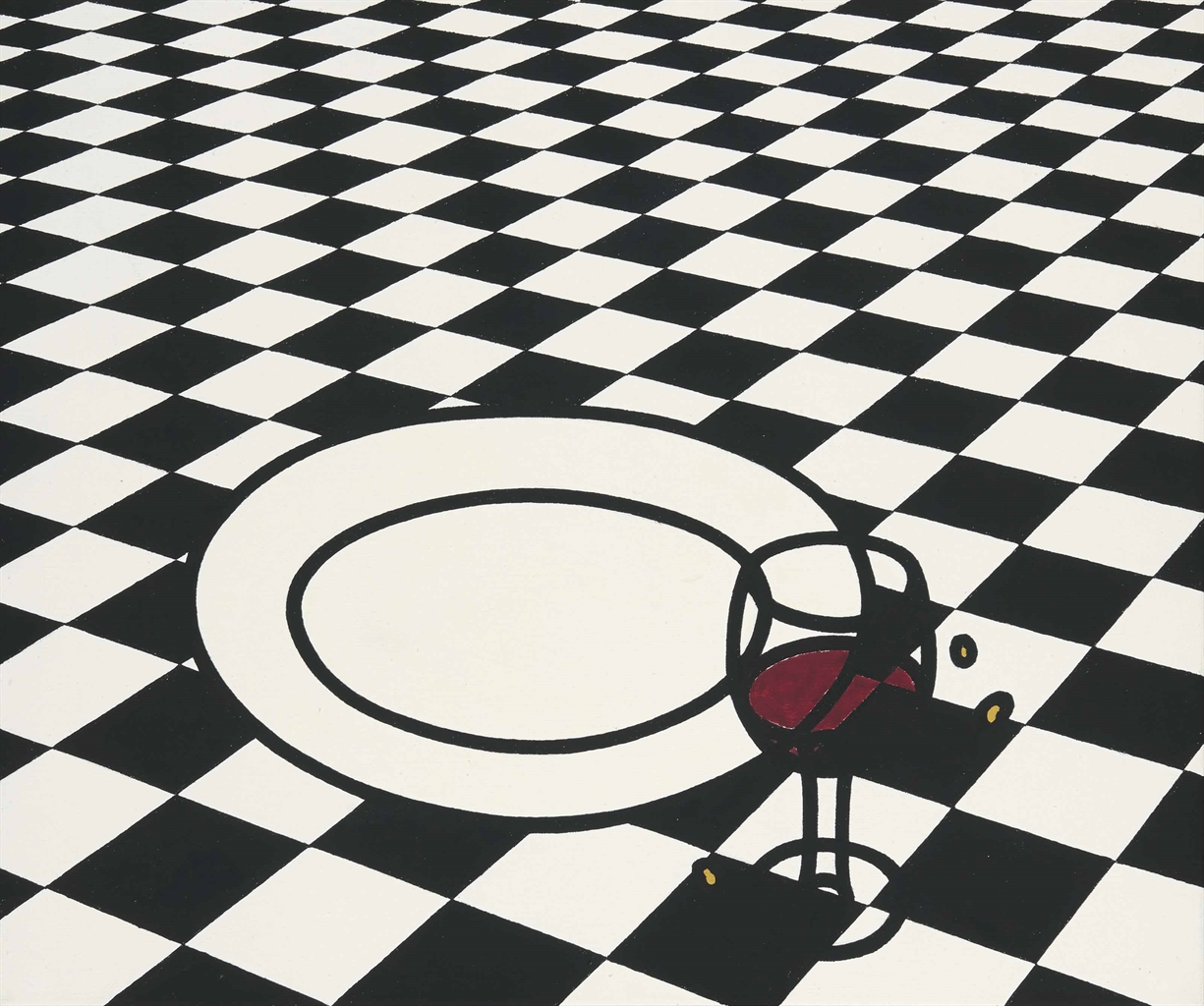 Patrick Caulfield-Glass & Plate, Black & White Checks-1972