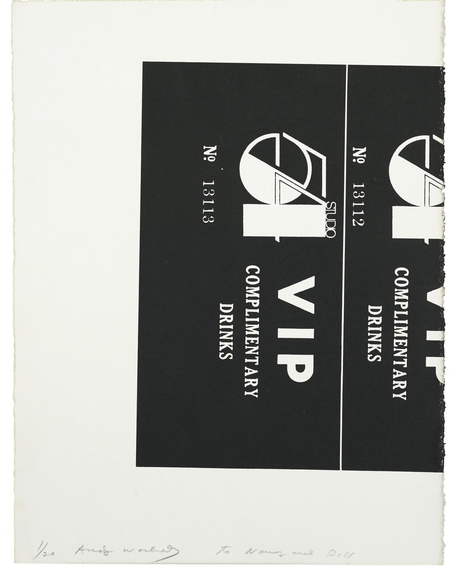 Andy Warhol-Studio 54 Complimentary Drink Invitation-1978