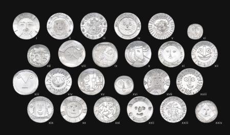 Pablo Picasso-A Complete Set Of Twenty-Four Silver Plates ((i) Dormeur; (ii) Visage aux feuilles; (iii) Faune cavalier; (iv) Visage aux mains; (v) Visage tourmente; (vi). Visage de faune; (vii) Joueur de flute et cavaliers; (viii) Poissons; (ix) Profil de Jacqueline; (x) Taureau; (xi) Visage larve; (xii) Visage en forme d'horloge; (xiii) Visage geometrique aux traits; (xiv) Horloge a la langue; (xv) Jacqueline au chevalet; (xvi) Tete au masque; (xvii) Visage dans un carre; (xviii) Tete en forme d'horloge; (xix) Vallauris; (xx) Visage au carton ondule; (xxi) Centaure; (xxii) Visage aux taches (xxiii) Joie de vivre; (xxiv) Visage geometrique)-1967