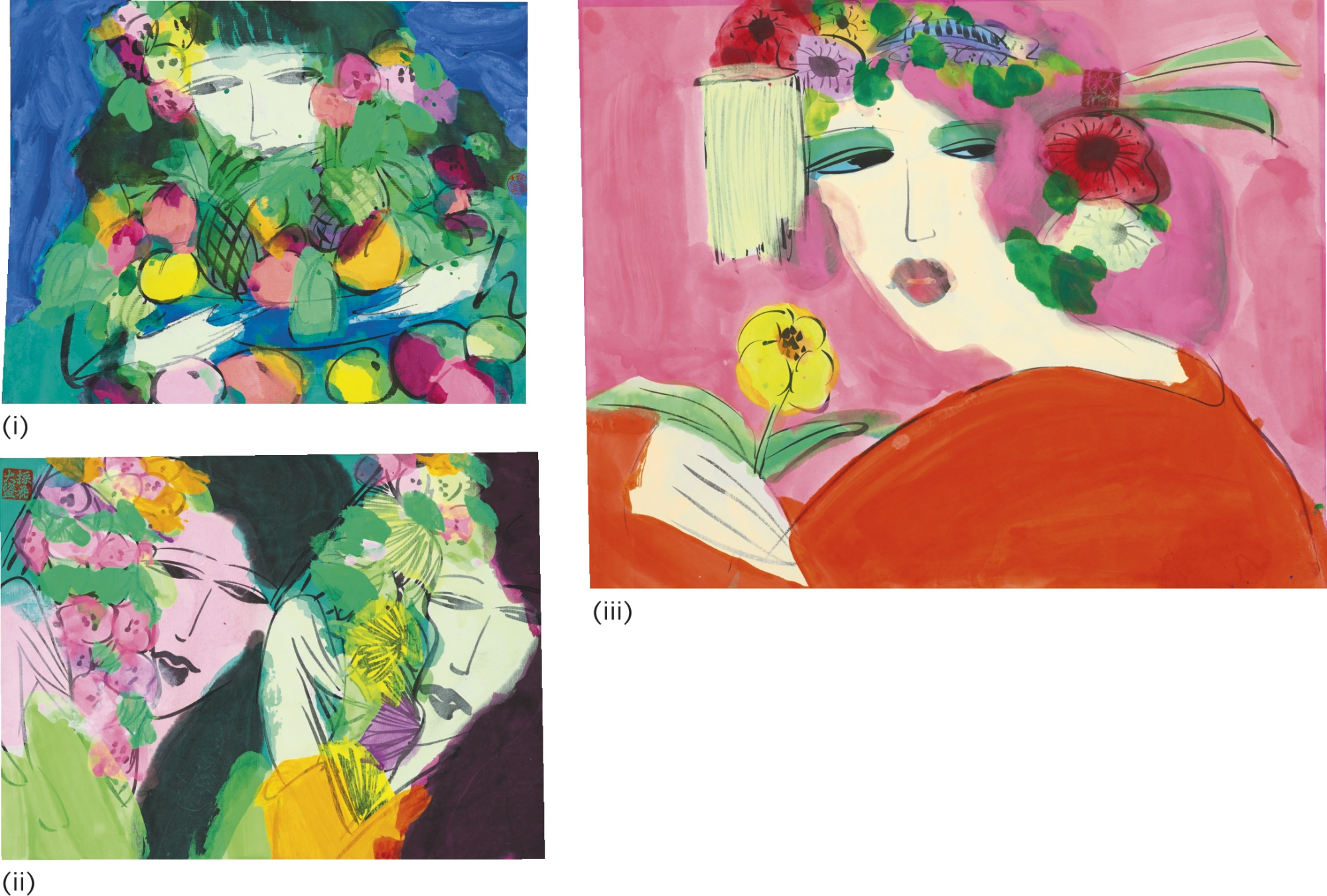 Walasse Ting-I. Girl With Flowers And Fruit;II. Two Girls With Flowers;III. Girl With Flower-1990