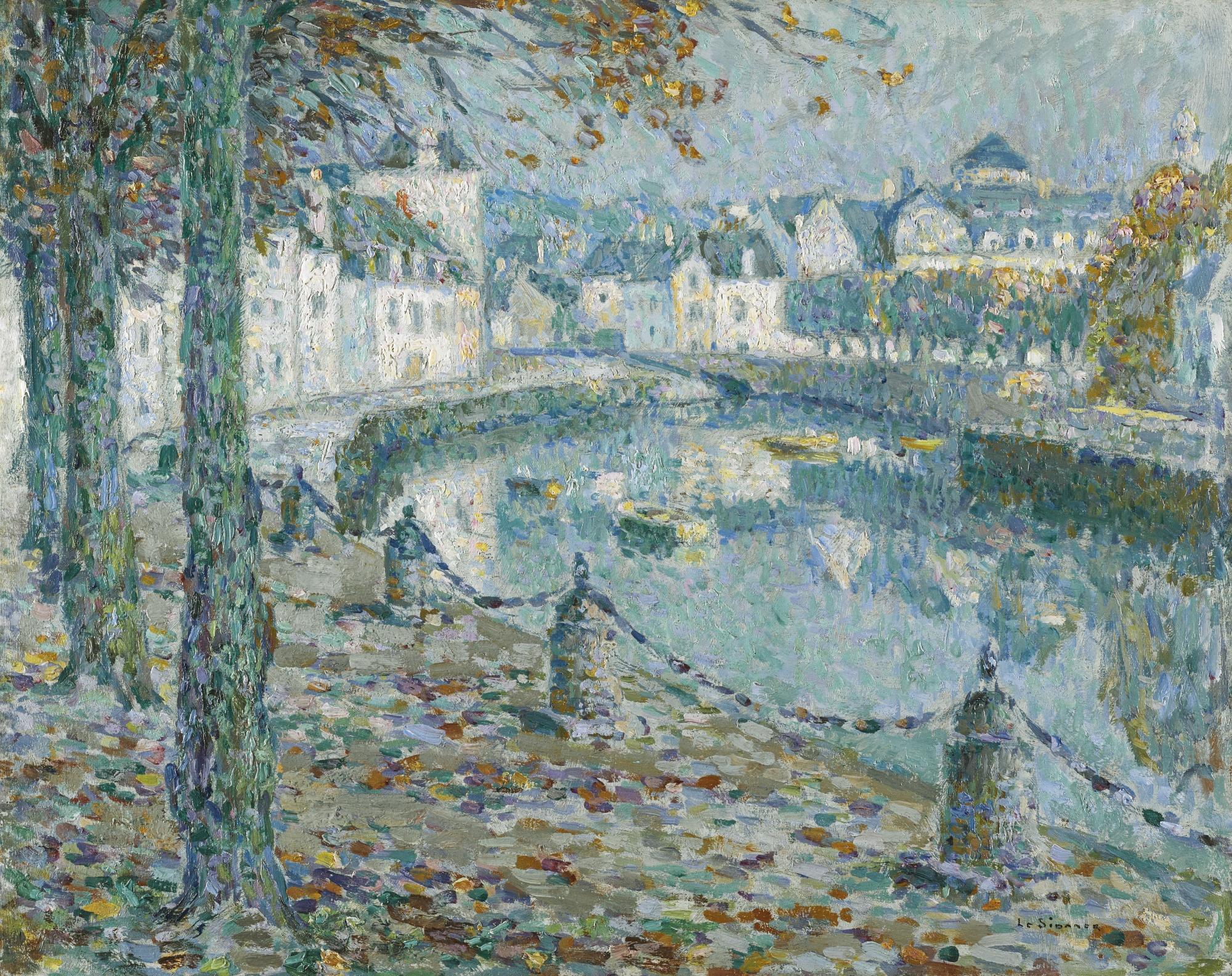 Henri Eugene Le Sidaner-La Petite Ville Au Matin, Quimperle-1919