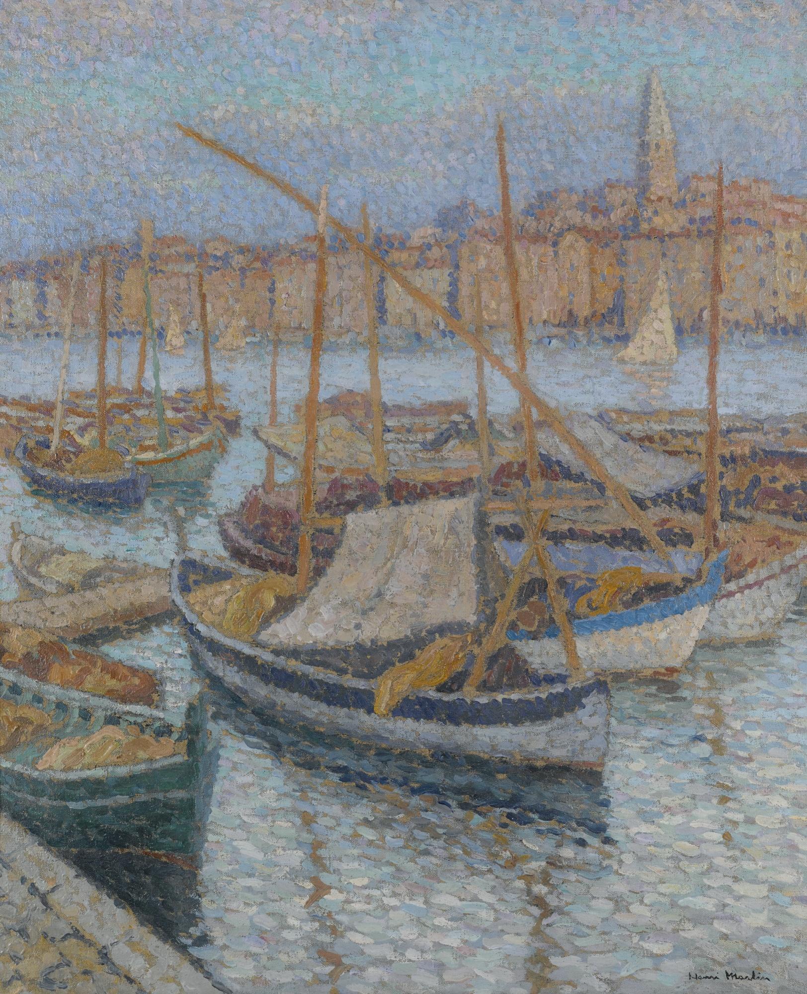 Henri Martin-Port De Marseille - Le Clocher Des Accoules-1910