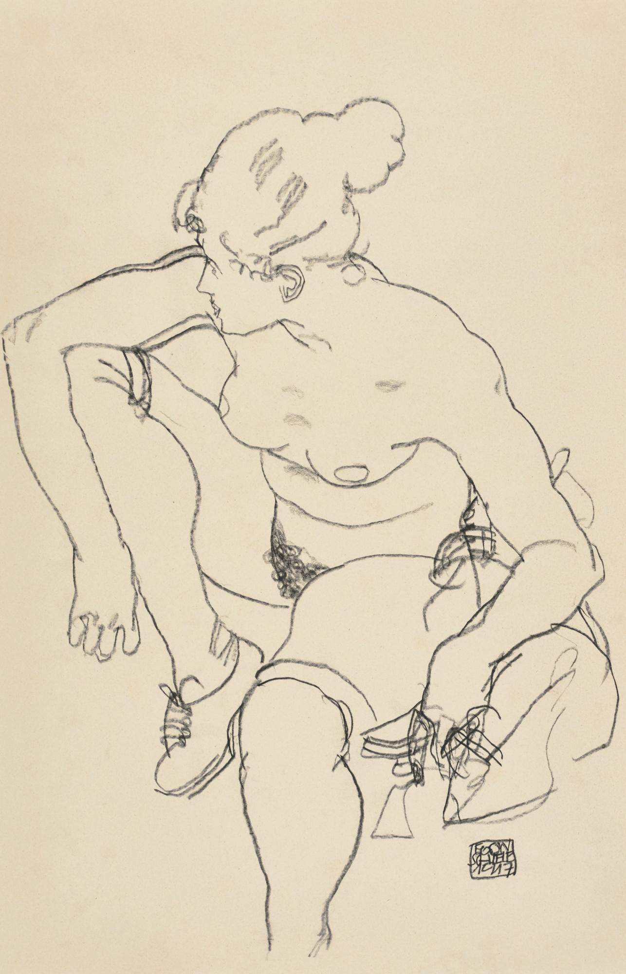 Egon Schiele-Frau Sitzend Mit Schuhen (Woman Seated With Shoes)-1917