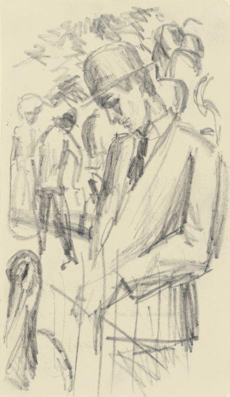 August Macke-Mann Beim Kranich Im Zoo (Man With A Crane In The Zoo)-1913