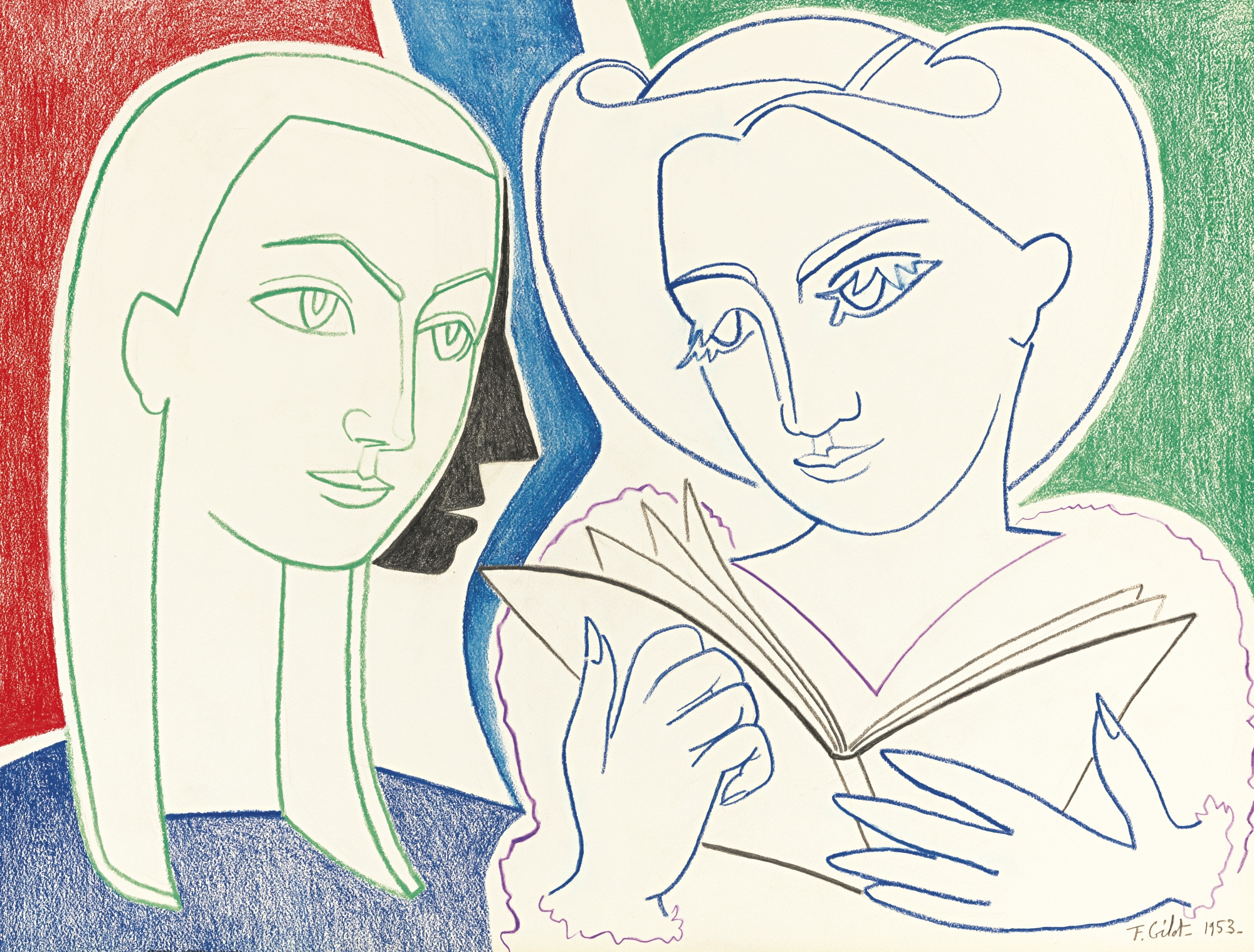 Francoise Gilot-Two Friends Reading Poetry-1953