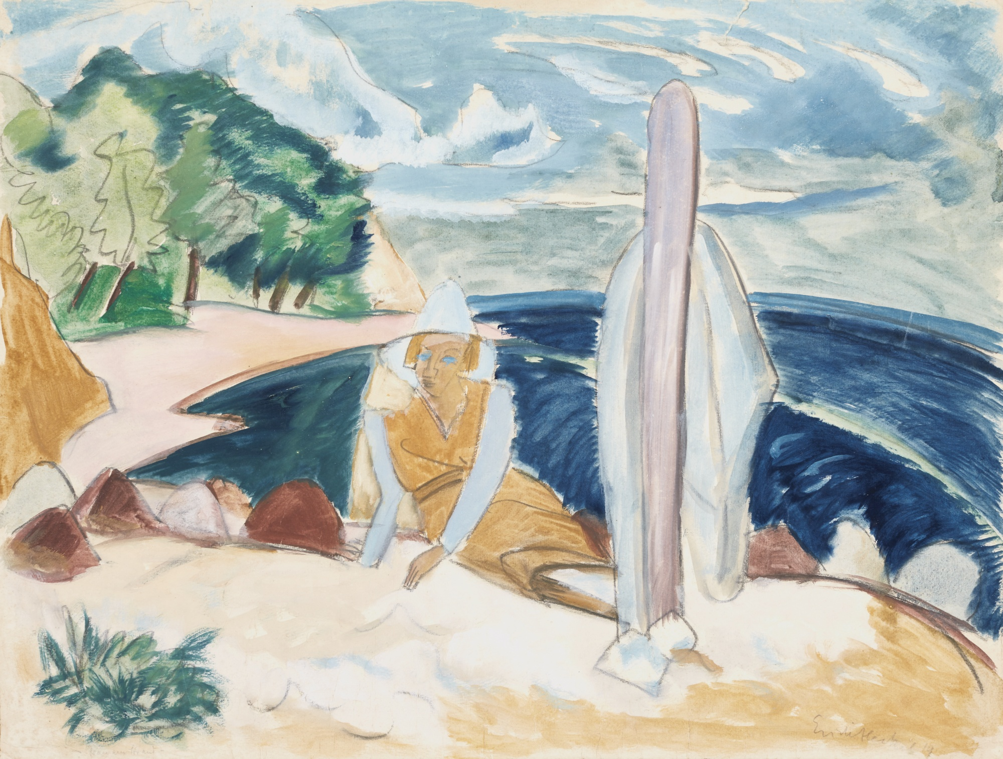 Erich Heckel-Frau Am Strand (Woman On The Beach)-1919