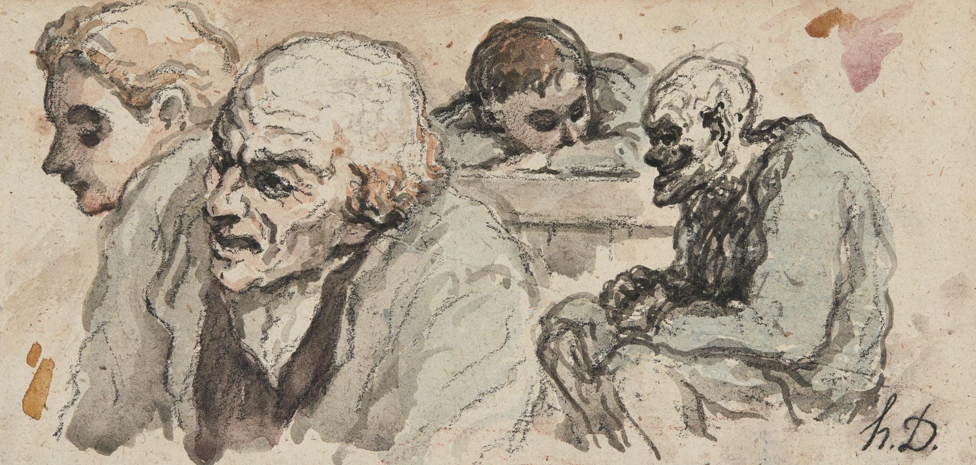 Honore Daumier-Quatre Personnages -Recto Blanchisseuse Et Son Enfant -Verso-
