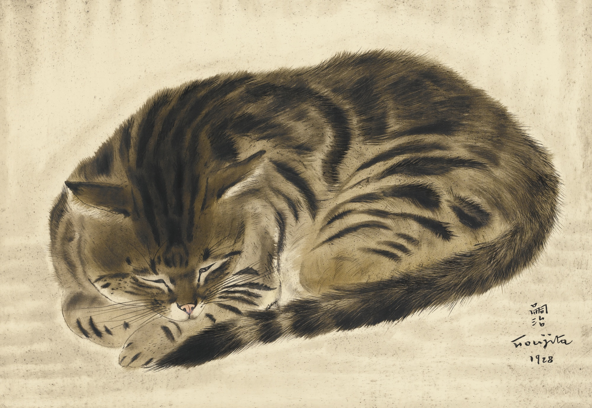 Tsuguharu Foujita-Chat En Rond-1928