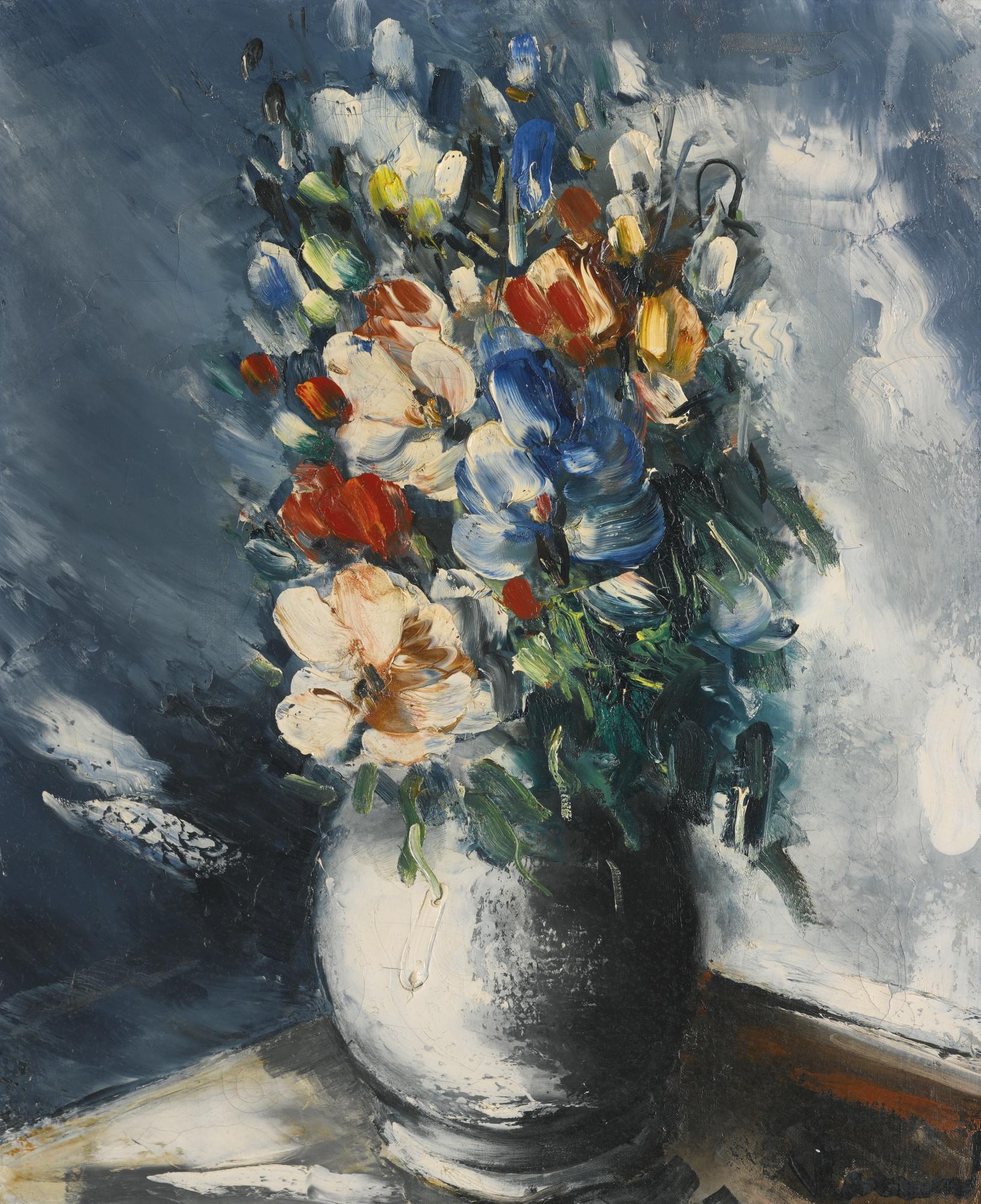 Maurice de Vlaminck-Bouquet De Fleurs Dans Un Vase Blanc-