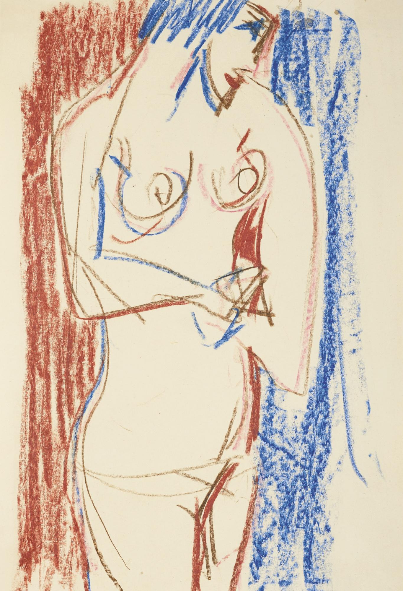 Ernst Ludwig Kirchner-Stehender Weiblicher Akt Mit Seitlichem-Rechts-Profil (Female Nude Standing And Turned To The Left)-1919
