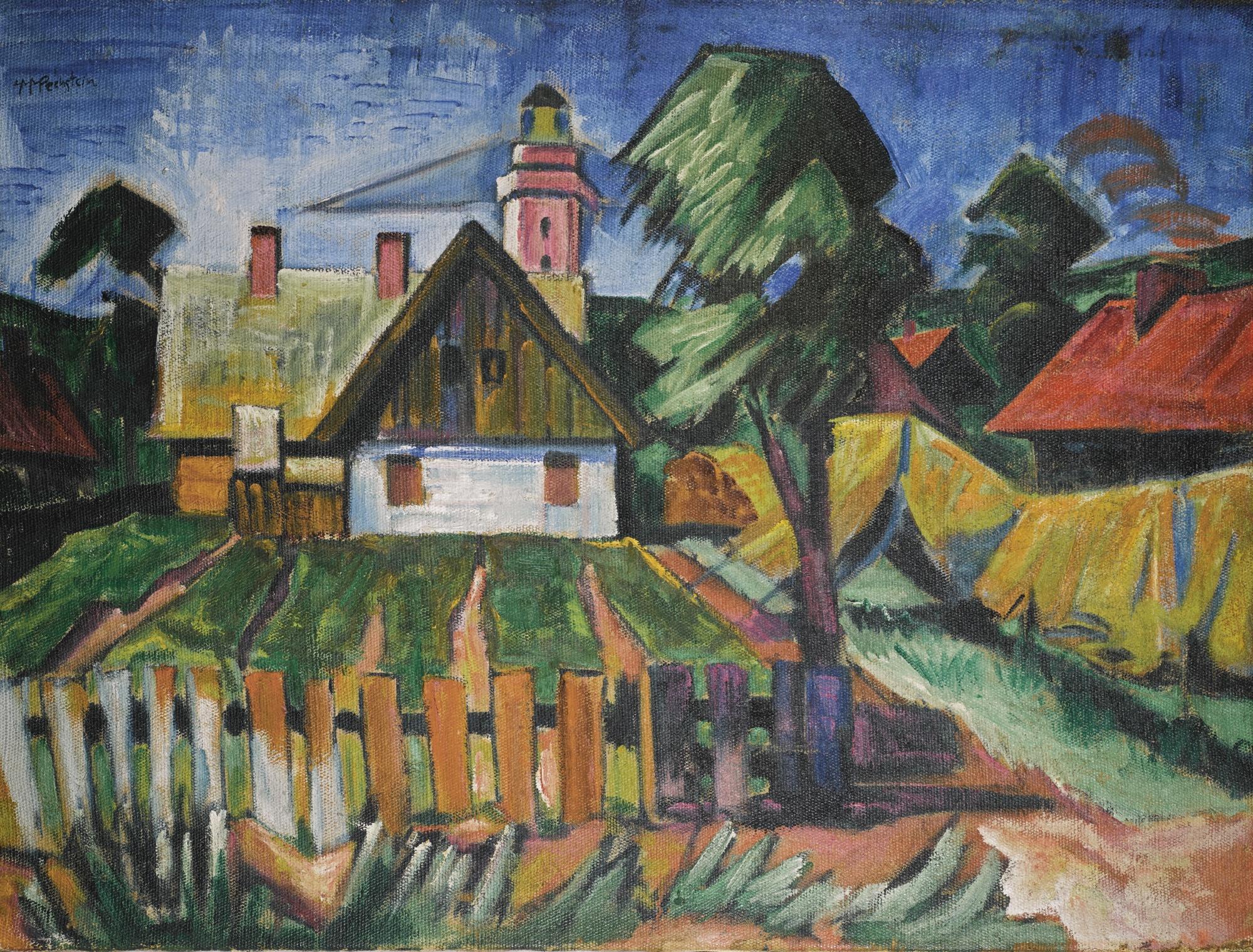 Max Pechstein-Dorflandschaft (Village Scene)-1920