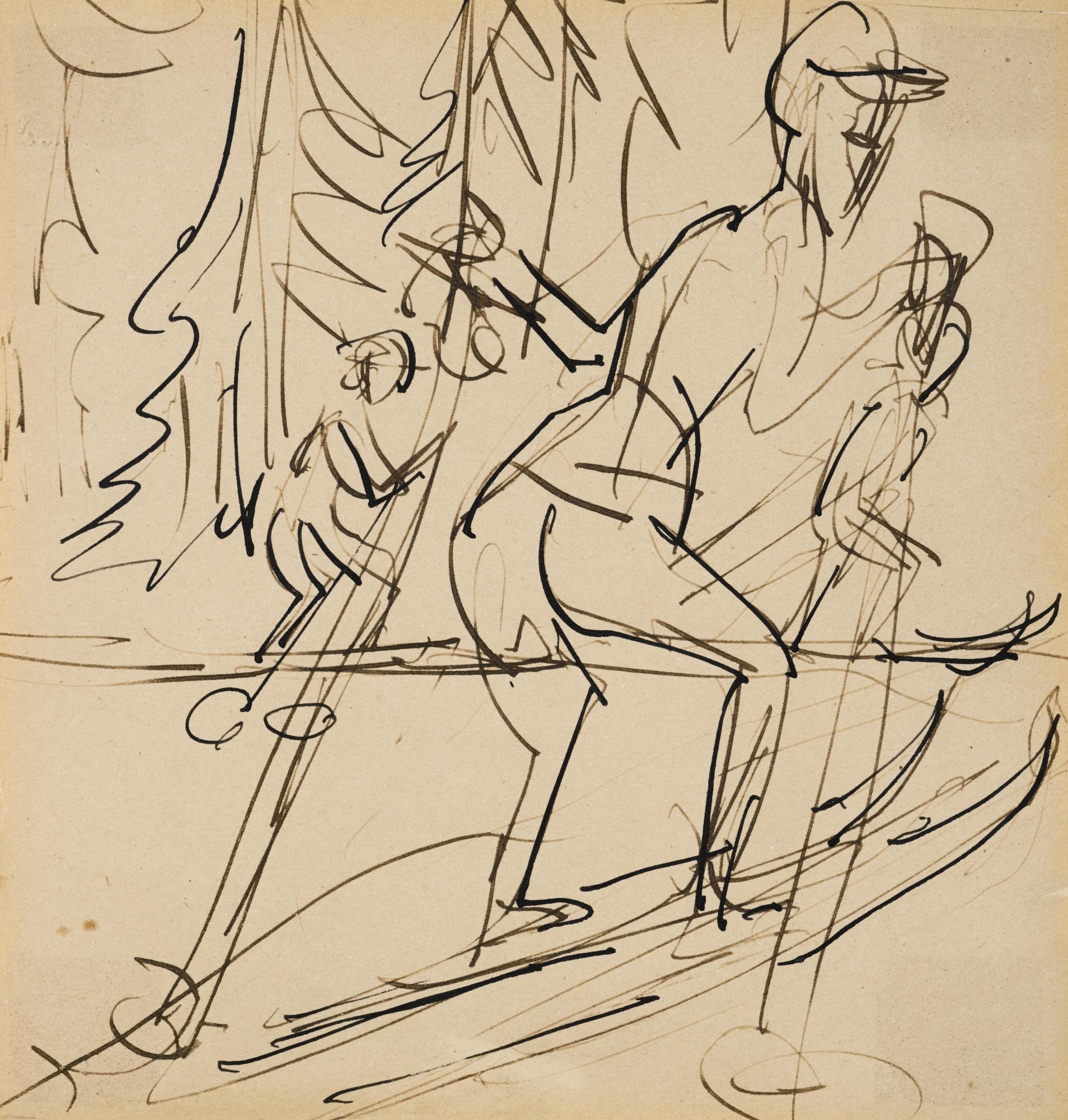 Ernst Ludwig Kirchner-Skilaufer (Skier)-1924