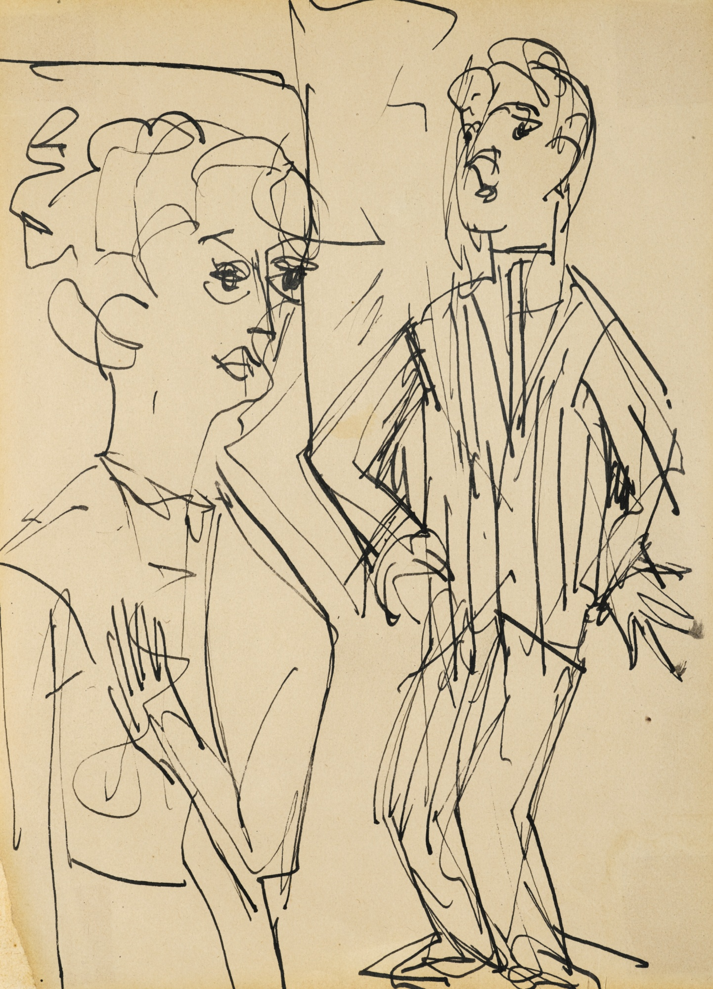 Ernst Ludwig Kirchner-Zwei Personen (Two People)-1922